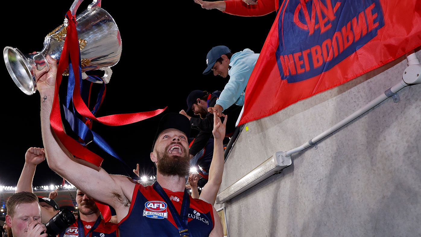 Max Gawn of the Demons celebrates during the 2021 Toyota AFL Grand Final match between the Melbourne Demons and the Western Bulldogs at Optus Stadium on September 25, 2021 in Perth, Australia. (Photo by Michael Willson/AFL Photos via Getty Images)