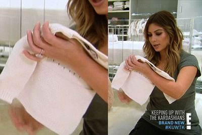 Kim was spotted wearing her engagement ring in a previous episode of the show. <br/>Whoops!