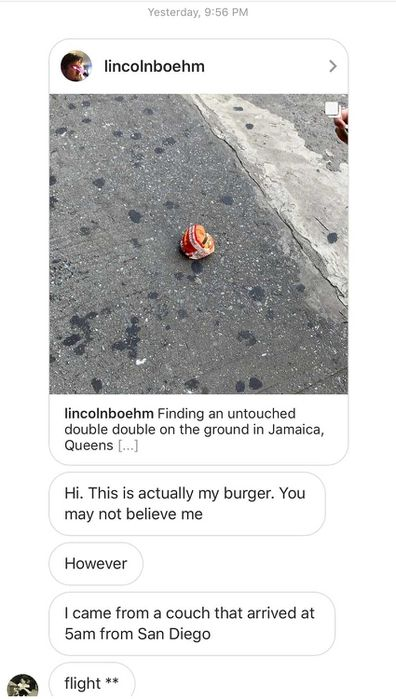 The burger's owner reached out the Boehm on social media, neatly capping off the most gripping burger saga of our decade.