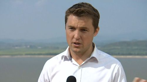 Arvier was reporting from the demilitarised zone when soldiers asked him to stop the live cross. (9NEWS)