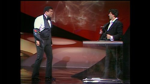 Sylvester Stallone and Muhammad Ali squaring off onstage in 1976.
