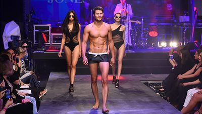 Model Jason Dundas wearing a design by Jets. (AAP)