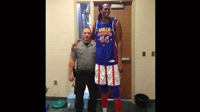 """""""Me and a Harlem Globetrotter. I'm 5'9 he's 7'4"""""""" (Facebook: William Gaffey)"""