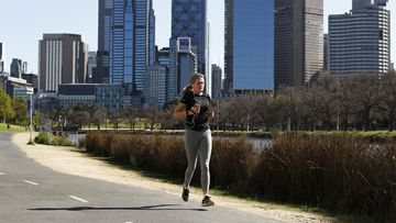 People are seen exercising along the Yarra River on September 06, 2020 in Melbourne, Australia.