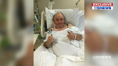 Two of his grandsons' teachers leapt into action performing CPR and using a defibrillator machine to save his life. Picture: 9NEWS.