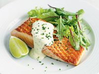 Salmon with lime crème fraîche