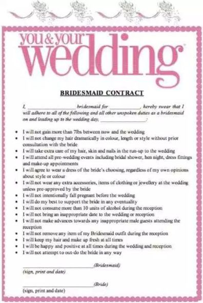 Bride-to-be blasted over pre-wedding 'bridesmaid contracts'