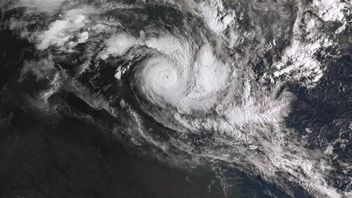 A satellite image acquired from the Australian Bureau of Meteorology showing Cyclone Trevor over the Northern Territory in March 2019.