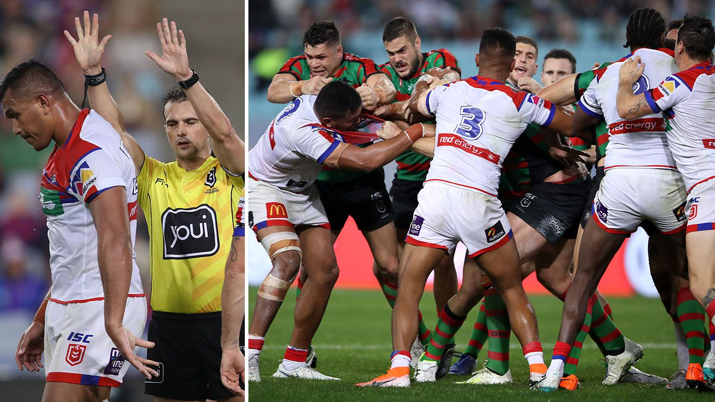 Four players sin-binned in ugly scuffle as Knights stun Rabbitohs for sixth-straight win