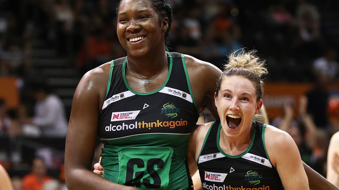 West Coast Fever netball stars Jhaniele Fowler (left) and Ingrid Colyer.