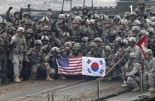 US and South Korean forces pose for a joint photo at the end of a series of wargames in Yeonchen 2015. Picture: AP