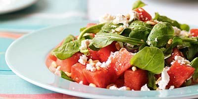 Watermelon, rocket & pine nut salad