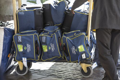 The team has their bags packed before heading to the final game of the series against South Africa. (AAP)