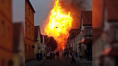 A photo taken with a phone by an eyewitness showing the blaze caused by the gas explosion. (AAP)