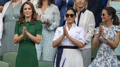 Kate is joined by the Duchess of Sussex and sister Pippa at Wimbledon 2019.
