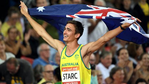 Brandon Starc celebrates his gold medal win. (AAP)