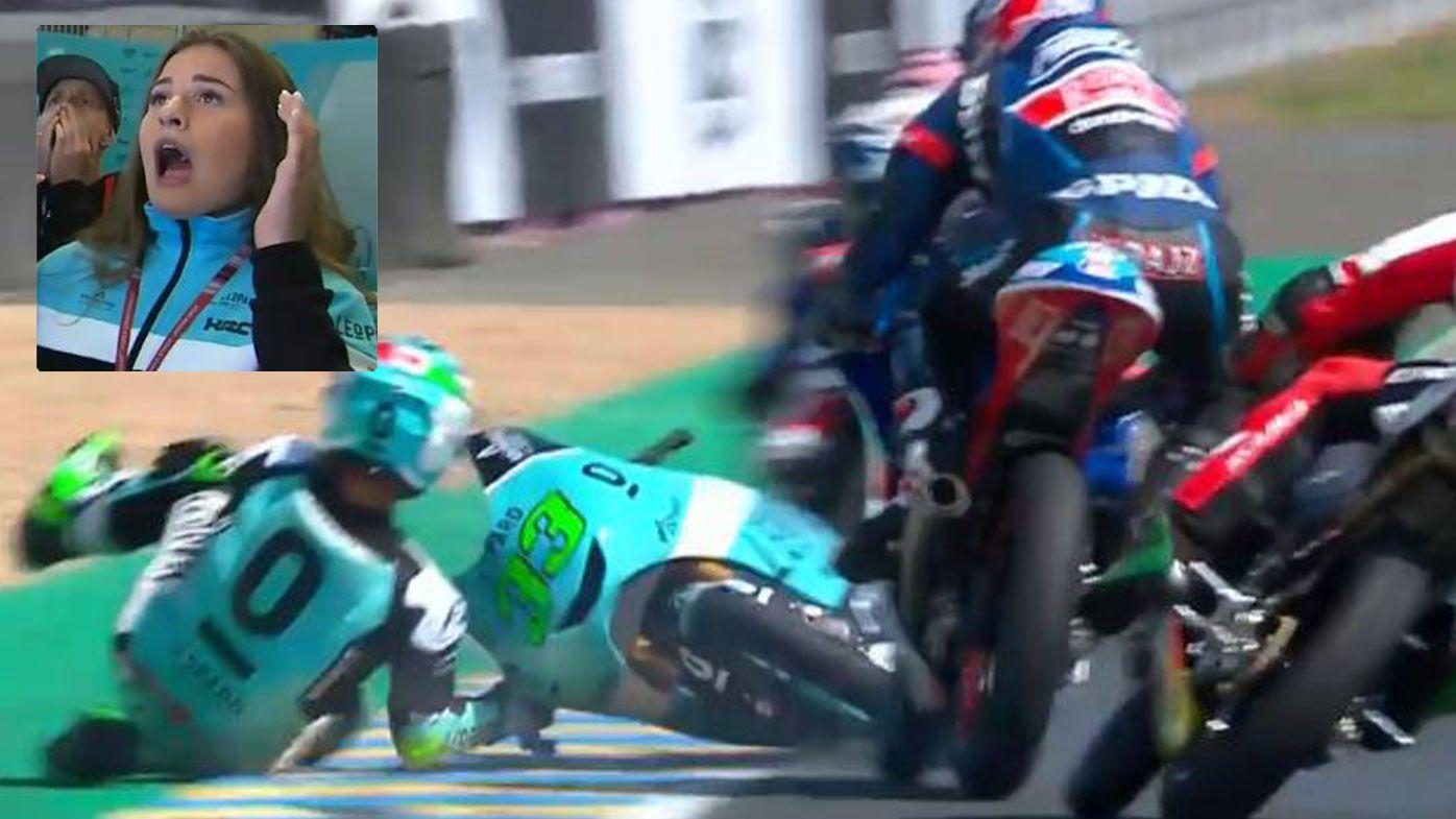 Moto3 rider Jakub Kornfeil pulls off miracle save at French Grand Prix