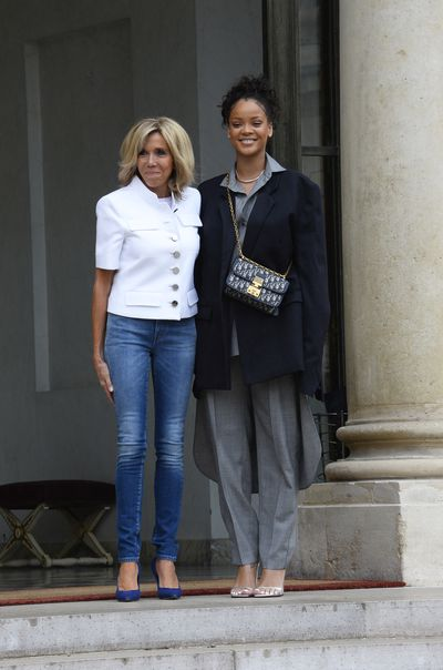 Brigitte Macron and Rihanna at the Elysée Palace in Paris in July 26, 2017