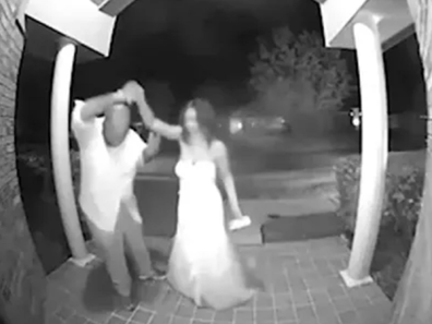 The special moment was captured by the doorbell camera.