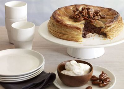 """Recipe:<a href=""""http://kitchen.nine.com.au/2016/05/17/10/47/chocolate-and-pecan-pie-with-candied-pecans"""" target=""""_top"""">Chocolate and pecan pie with candied pecans</a>"""