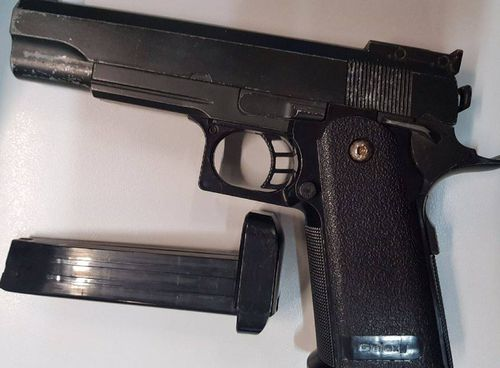 The 16-year-old was arrested at a Mosman home yesterday and this pistol seized by police. Picture: Supplied.