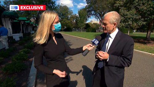 Trump adviser Peter Navarro speaking to 9News US Correspondent Alexis Daish.