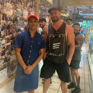 Chris Hemsworth drops by Chargrill Charlie's in Sydney.