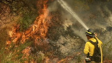 A firefighter puts out a hot spot along Highway 38 northwest of Forrest Falls, California, as the El Dorado Fire continues to burn Thursday afternoon, September 10, 2020