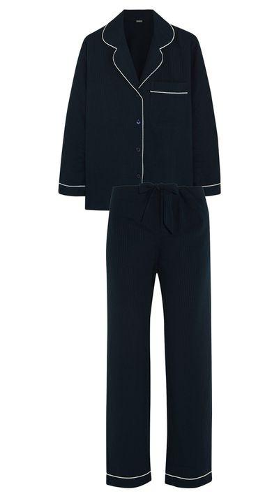 "<p><a href=""http://www.net-a-porter.com/au/en/product/540571"">Seersucker Cotton Pajama Top, $123.38</a>, and <a href=""http://www.net-a-porter.com/au/en/product/540572"">Seersucker Cotton Pajama Pants, $100.29</a>, Bodas</p>"