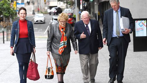 Kate Greer, her parents Mary and Henry Wagner and brother Denis Wagner leave the Supreme Court in Brisbane, Thursday, June 14, 2018. Picture: AAP