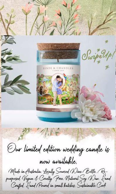 Bindi Irwin, Chandler Powell, wedding, commemorative candle
