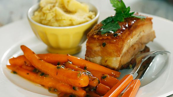 Twice-cooked pork belly with passionfruit carrots