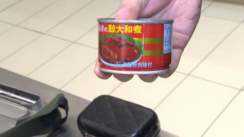 Tins of whale meat. Picture: 9NEWS