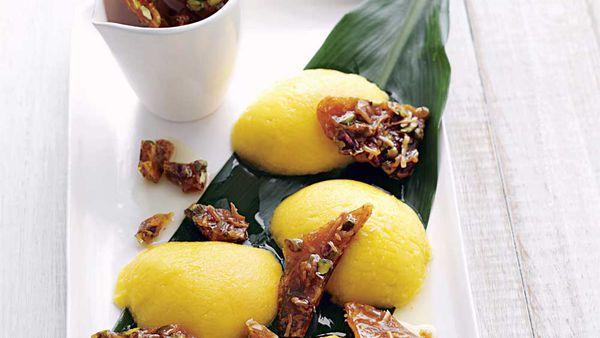 Mango with pistachio and coconut praline