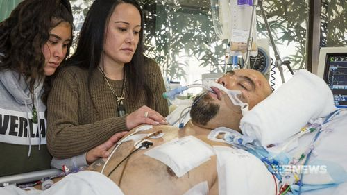 Jacob Moore's family is at his bedside in hospital as he fights for life.