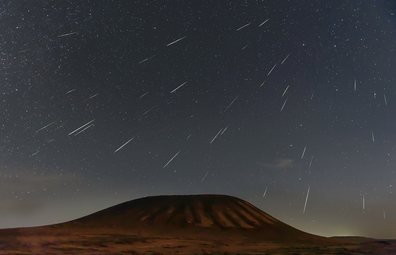 Geminids meteor shower 2018 over Ulanhada Volcano, Inner Mongolia, China.