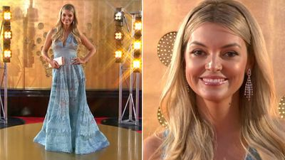 Totally Wild presenter Natalie Hunter sported Elie Saab and chandelier earrings.