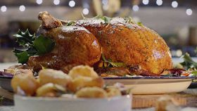 Roast turkey with cranberry gravy