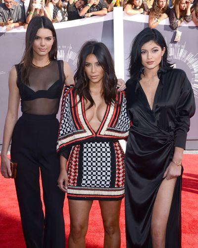 Kim Kardashian, Kendall Jenner and Kylie Jenner at the 2014 MTV Movie Awards