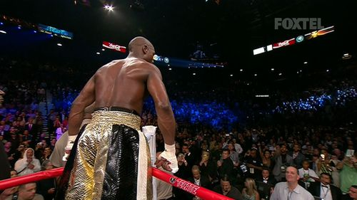 Some members of the crowd booed Mayweather as he postured while awaiting the points decision.