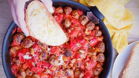 Easy five-ingredient sausage meatball and bean bake