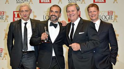 "The cast of the SBS ""First Contact"" with their Silver Logie for Most Outstanding Factual Program. (AAP)"