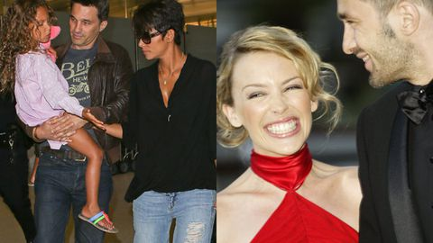 Nahla, Olivier and Halle leaving LAX this week / Kylie and Olivier in 2003.