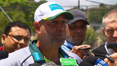 Cricket coach Darren Lehmann spoke at the training session in Adelaide today. (9NEWS)