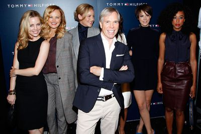Melissa George, Malin Akerman, Abbie Cornish, Tommy Hilfiger, Alice St. Clair, and Corinne Bailey Rae backstage at the Tommy Hilfiger Spring 2012 during Fashion Week in New York City.