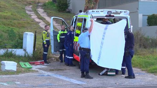 Three ambulances and multiple police vehicles attended the Church Point home after the 41-year-old man was found unconscious near his injured eight-year-old son. Picture: 9NEWS.
