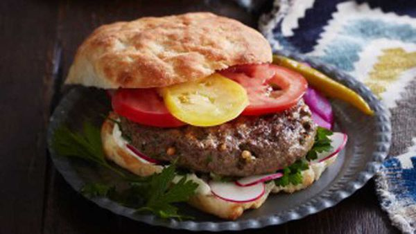 Spiced lamb and pine nut burgers