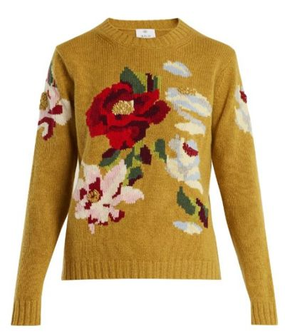 """<a href=""""https://www.matchesfashion.com/au/products/1197436?is=1197436"""" target=""""_blank"""" draggable=""""false"""">Allude Floral Intarsia Cashmere Sweater, $635.</a>"""