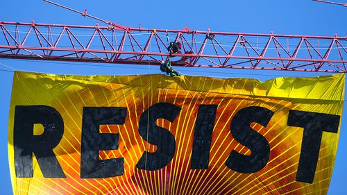 The 20 metre by 10 metre crane was hand painted. (AAP)