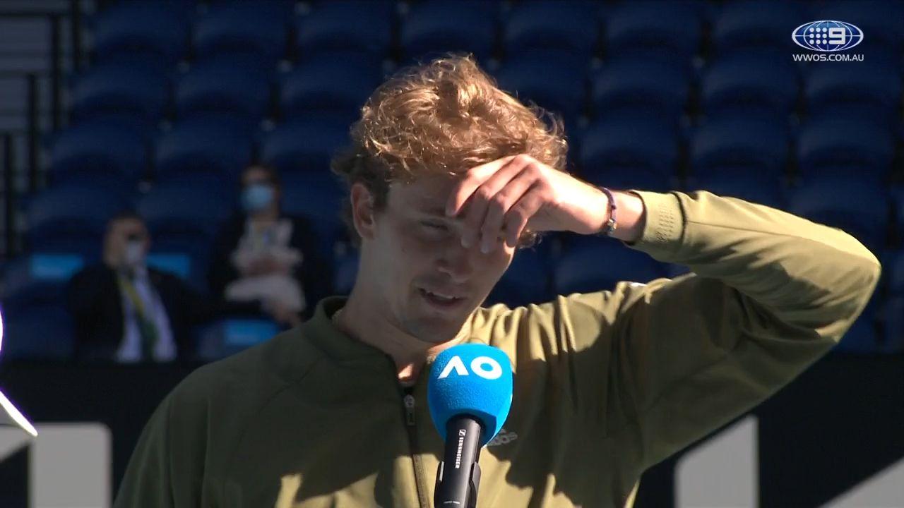 'I feel weird now': Alexander Zverev's awkward post-match interview